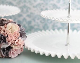Milk Glass Cake Stand / 2 Tier Milk Glass Tidbit Tray / Wedding Decor Wedding Centerpiece / 2-Tier Dessert Pedestal / Tiered Serving Tray