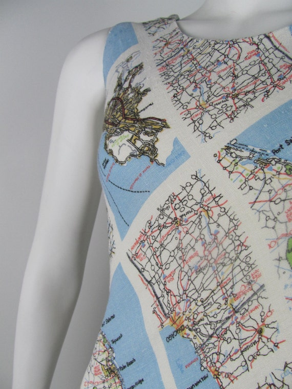 Map Printed Sleeveless Dress