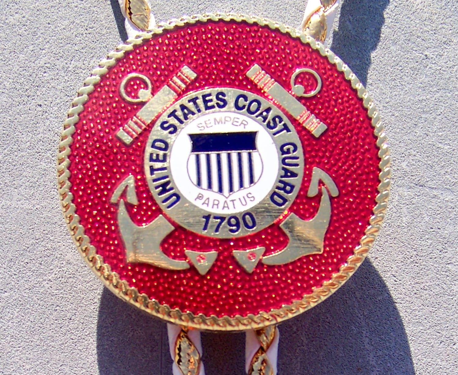 U.S. Coast Guard Color Emblem Bolo Tie Dressy White And Gold