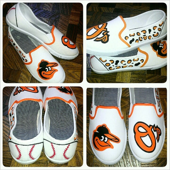 painted orioles slip on canvas shoes by kraftymamaboutique