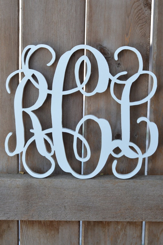 18 inch wooden monogram 3 letters by thespottedzebras on etsy for 3 inch wooden letters