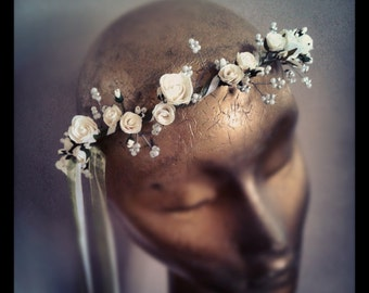 PEARL WAVE Bridal Hair Garland (Circlet, Wreath, Crown) in Ivory (other colours available)