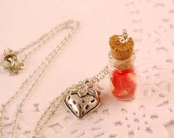 strawberry  jar necklace - food jewelry