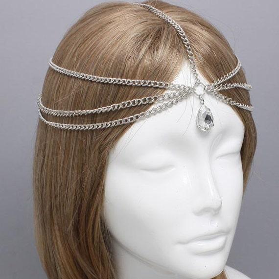 Indian Wedding Headdress: Silver Tear Drop Crystal Head Chain Headpiece By