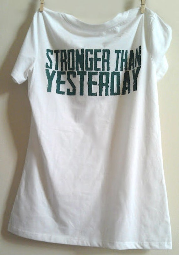 """XLarge White V-Neck """"Stronger Than Yesterday"""" Fitness / Workout T-Shirt"""