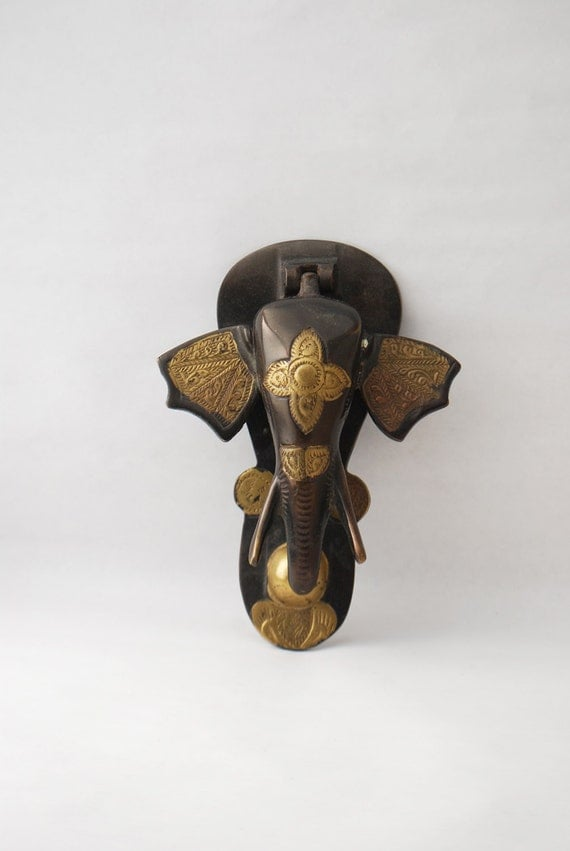 Reserved vintage elephant door knocker painted brass ethnic - Brass elephant door knocker ...