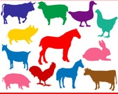 Farm Animals Silhouette Graphics Clipart - Personal use and small commercial