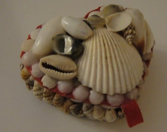 French Heart shaped box decorated with real shells. Traditional French seaside resort souvenir.