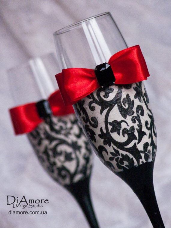 Personalized Wedding Glasses From The Collection DAMASK Black