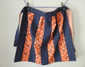 Starburst Orange & Navy Apron - mid century modern reto houswife - white polka dots