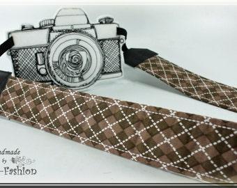Camera strap, camerastrap, brown, argyle