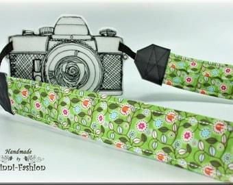 DSLR Camera strap, millefleur on green