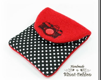 bag for camera accessories, red, black dots