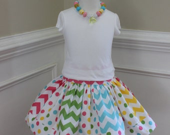 Easter skirt girl Easter chevron skirt chevron rainbow skirt rainbow skirt polka dot skirt riley blake girl chevron skirt birthday skirt