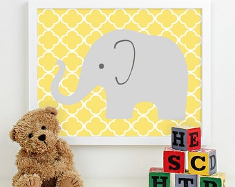 Modern Nursery Art Elephant Nursery Print, Safari Animal Kids Wall Art for Children Room Playroom, Baby Nursery Decor