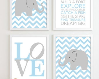 Baby Boy Nursery Art Chevron Elephant Nursery Prints, Kids Wall Art Baby  Boys Room, Baby Nursery Decor Playroom Rules Subway Art