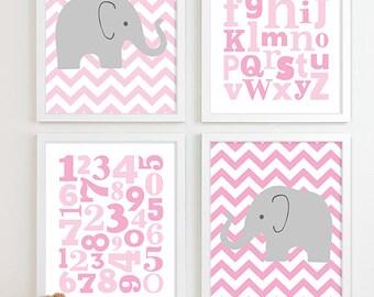 Baby Girl Nursery Art Chevron Elephant Nursery Prints, Kids Wall Art Baby Girls Art, Baby Nursery Decor ABC Alphabet Art Numbers Art