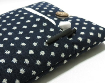 iPad Mini Sleeve, iPad Mini Case, iPad Mini Cover, Kindle, Nook, Nexus pouch With Pocket - Japanese polka dots indigo cotton