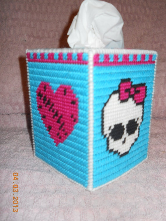 Monster High Tissue Box Cover plastic canvas by SpyderCrafts