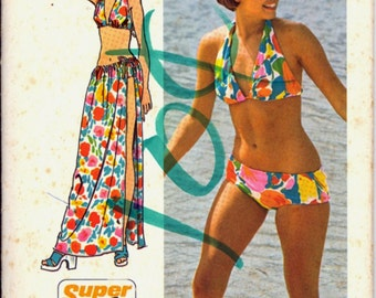 1970s Bikini Tie Skirt Simplicity 5644 Bust 31 32 Half Bathing Swim Suit Vintage Retro Sewing Pattern