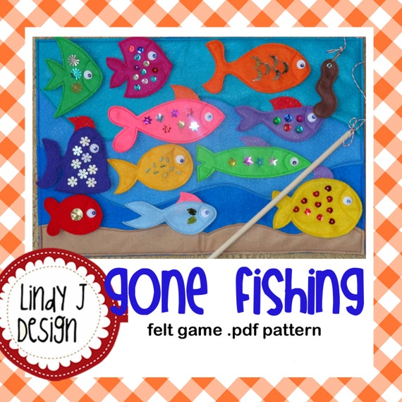 Gone fishing magnetic felt game pdf pattern for Illinois game and fish