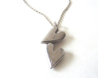Double Heart Necklace Pendant Made From Recycled Repurposed Stainless Steel Metal Perfect For Any Gift