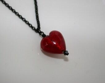 Venetian glass heart on black necklace