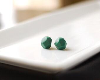 Emerald Geometric Stud Earrings - Faceted Gemstone - Geo Earrings - Minimalist Jewelry
