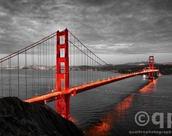 San Francisco Golden Gate Bridge, black and white hand colored 30x45""