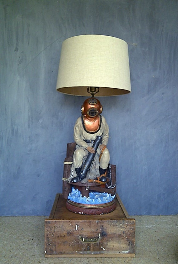 Rare Apsit Brothers Deep Sea Diver Table Lamp By