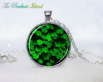 CLOVER NECKLACE Clover Pendant  Clover  Jewelry Green Necklace for him  Art Gifts for Her saint patricks day