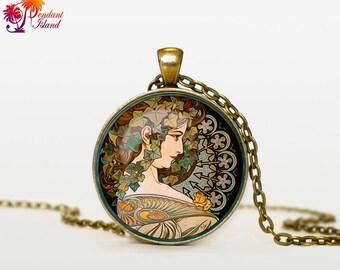 Alphonse Mucha art pendant Alphonse Mucha art necklace Alphonse Mucha art jewelry