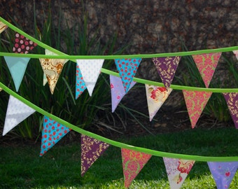 Party Fabric Flag Bunting Banner (9.5 Feet) for birthday parties or photography props | Fabric Banner