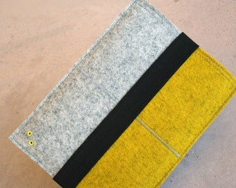 Yellow - iPad Mini travel case 100% Merino Wool Felt 3mm thick - with elastic band for closure