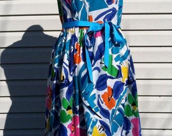60's  Malia of Honolulu dress/60's vibrant Malia cotton dress/60's summer dress