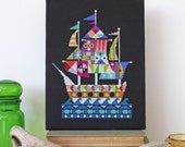 Voyage - Modern Pirate Ship cross stitch pattern PDF - Instant download