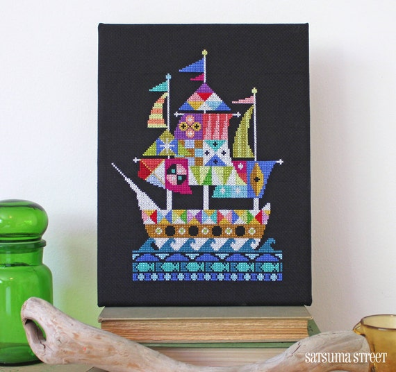 Voyage - Modern Pirate Ship cross stitch embroidery pattern PDF - Instant download