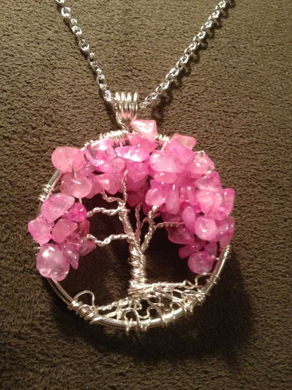 Rose Quartz Necklace Wire Wrapped Tree Of Life Pendant Pink