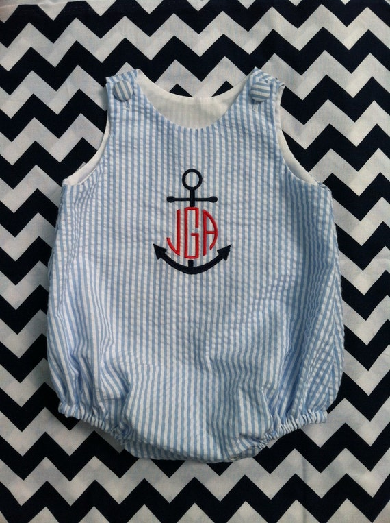 Blue and White Seersucker Monogrammed Baby Boys Bubble Anchor