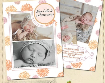 INSTANT DOWNLOAD Birth announcement card template - CA021