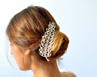 Leaf Hair Comb , Leaf Rhinestone Hair comb, bridal leaf hair comb , swarovski Hair comb ,Crystal leaf Hair comb ,Bridal Hair Jewelry