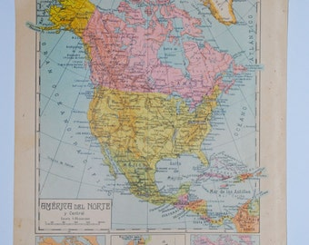 Antique spanish political map of North America - 1940