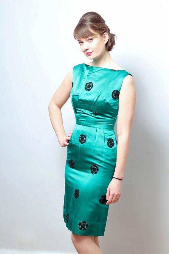 1960s Vintage Jade Satin Mad Men Wiggle Dress Modern Us Size