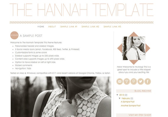 blogger blog template - the hannah template