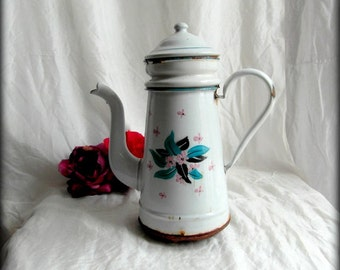 French antique enamelware coffee pot, French enamelware, French vintage, French country decor, farmhouse kitchen, French antiques.