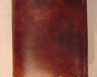 Tooled Brown Leather Trifold Wallet - Triplefold Billfold - Wave 153