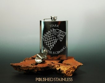 Game of Thrones - Hand Etched Stainless Steel Hip Flask - Stark - Brushed or Polished - With FREE Funnel!