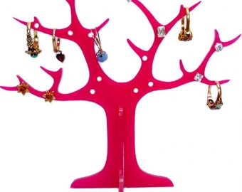 Red Acrylic Ring Tree (for earrings and rings)