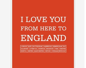 England Art Prints and Posters Poster I love you from here to England Digital print 8 x 10