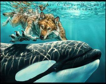Seawolves Werewolf and Orca Fine Art Print